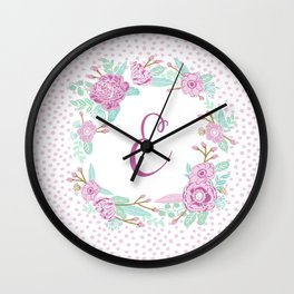Monogram E - cute girls purple florals flower wreath, lilac florals, baby girl, baby blanket Wall Clock