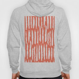 Vertical Dash White on Deep Coral Hoody