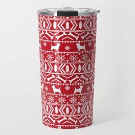 Cairn Terrier dog breed pet pattern fair isle christmas sweater cute holiday dog lover Travel Mug