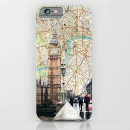 Map of London, England Skyline of Big Ben and Parliament iPhone Case