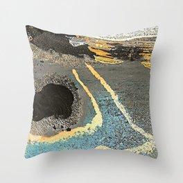 The Golden Path - an abstract, textured piece in neutrals by Jacob von Sternberg Art Throw Pillow