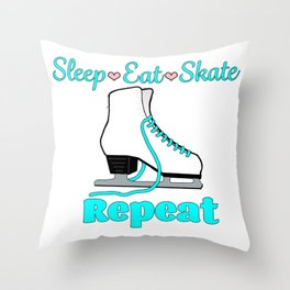 Sleep-Eat-Skate-Repeat in Turquoise Throw Pillow