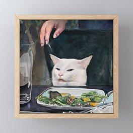 Woman Yelling at Cat Meme-2 Framed Mini Art Print