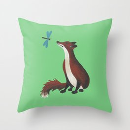 Fox and Dragonfly Throw Pillow