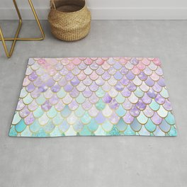 Iridescent Mermaid Art, Pastel and Gold Rug
