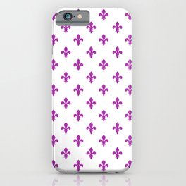 Fleur-de-Lis (Purple & White Pattern) iPhone Case