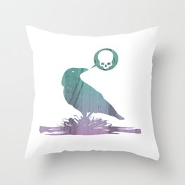 Pissed off crow Throw Pillow
