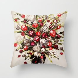 Christmas Bouquet, red white and black floral ornaments in vase Throw Pillow