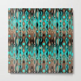 Retro Bohemian Gypsy Beaded Dangles // Horizontal Gradient Chocolate Brown, Turquoise, Teal Metal Print