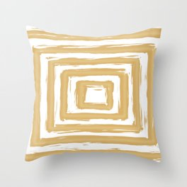 Minimal Gold Square Brush Stroke Pattern Throw Pillow