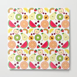Fruit pattern colorful illustration Metal Print