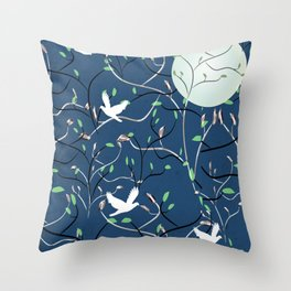 Art Nouveau Moon with Doves (Blue and Silver) Throw Pillow