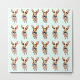 Cute Beige Blue Pastel Bunnys Metal Print