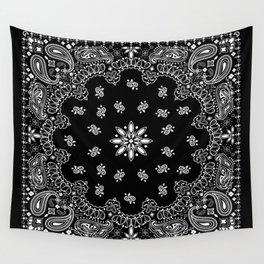 black and white bandana pattern Wall Tapestry
