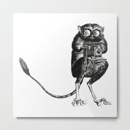 Say Cheese! | Tarsier with Vintage Camera | Black and White | Metal Print