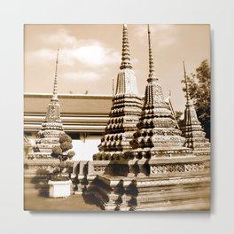 Wat Po temple in Thailand (Bangkok & Travel) - Thai Massage School (square) Metal Print