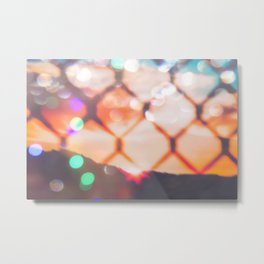 summer sunset sky over the mountain with bokeh light abstract Metal Print