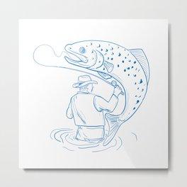 Fly Fisherman Trout Fishing Drawing Metal Print