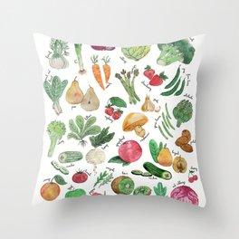 May seasonal fruits & vegetables watercolor illustration Throw Pillow