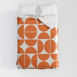 Mid Century Modern Geometric 04 Orange Duvet Cover