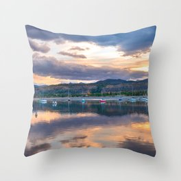 Calm Waters // Lake and Boats at Sunset Beautiful Landscape Photograph Scenic Mountain View Throw Pillow
