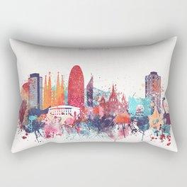 Barcelona Watercolour Skyline Rectangular Pillow