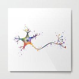 Neuron Art Brain Cell Anatomy Art Watercolor Neurology Medical Science Art Biology Gift Metal Print