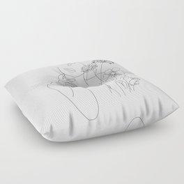 Minimal Line Art Woman with Flowers III Floor Pillow