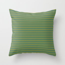 Thin lines yellow back ground soft green Throw Pillow
