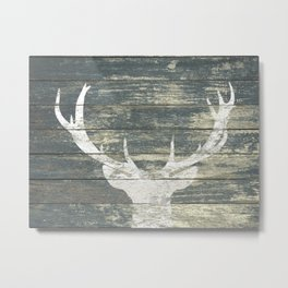 Rustic White Deer Silhouette Teal Wood A311 Metal Print