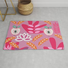 Apples and plants in shades of pink Rug