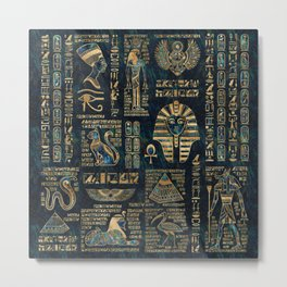 Egyptian hieroglyphs and deities -Abalone and gold Metal Print