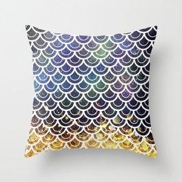 Mermaid Scales Deep Sea Sparkle Throw Pillow