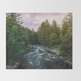 PNW River Run II - Pacific Northwest Nature Photography Throw Blanket
