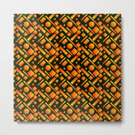 Space design with bronze circles and yellow rectangles of stripes. Metal Print