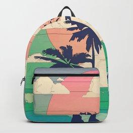 Retro Vaporware Tropical Sunset Backpack
