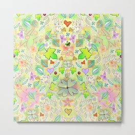 Leaf and Heart Design, includes 4 leaf clovers Metal Print