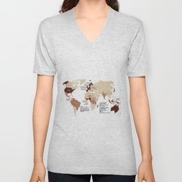 Cocoa Chocolate Around the World Export Map Unisex V-Neck