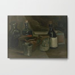 Still Life with Bottles and Earthenware Metal Print