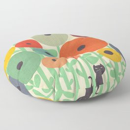 Cat in flower garden Floor Pillow