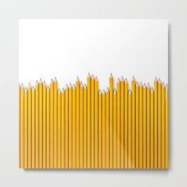 Pencil row / 3D render of very long pencils Metal Print