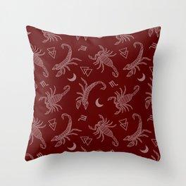 Scorpio Moon on Maroon Throw Pillow