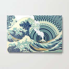 The Great Wave Eruption And Kaleidoscope Bacground Metal Print