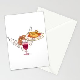 Illustration of Little angel holding a glass of red wine and a plate of lasagna box roasted quail Stationery Cards
