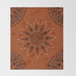Central Mandala Curry Throw Blanket