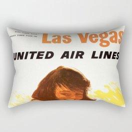 "Vintage Las Vegas United Air Lines Travel Poster ""Day Time Sun Night Time Fun"" Rectangular Pillow"