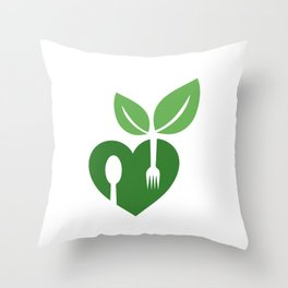 Love for vegan food with organic leaves and spoon forks Throw Pillow