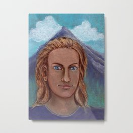 Portrait of a man in the mountains drawing by pastel Metal Print