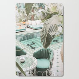 Travel Photography Art Print | Tropical Plant Leaves In Marrakech Photo | Green Pool Interior Design Cutting Board