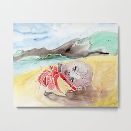 Baby Doll Head Hermit Crab Metal Print